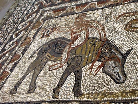 Ein Mosaik in einem Gebäude in Volubillis.